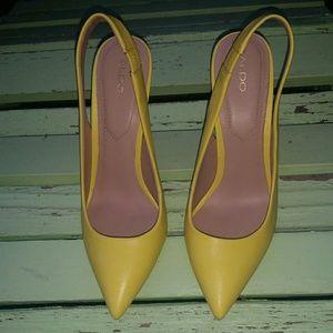 Aldo Yellow Sling Back Heels